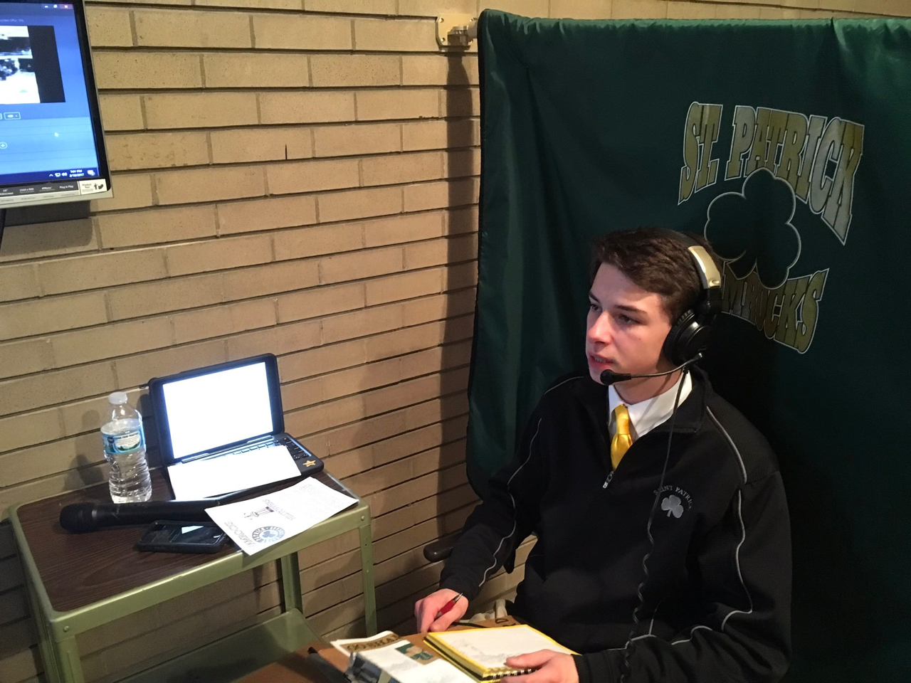 Anthony Pasquale, '18, prepares for basketball commentary.